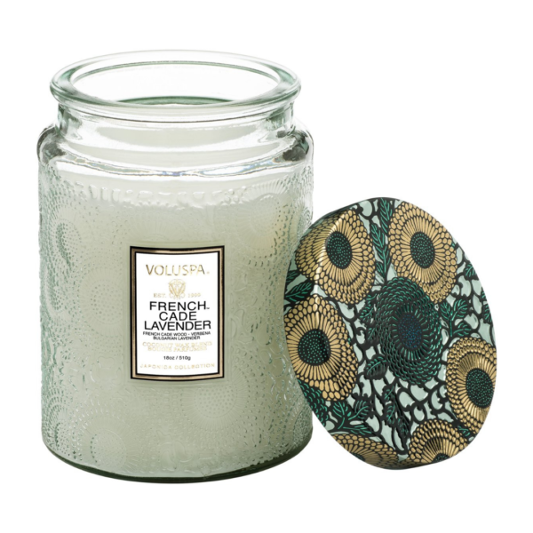 Voluspa French Cade and Lavendar Large Jar Candle 1