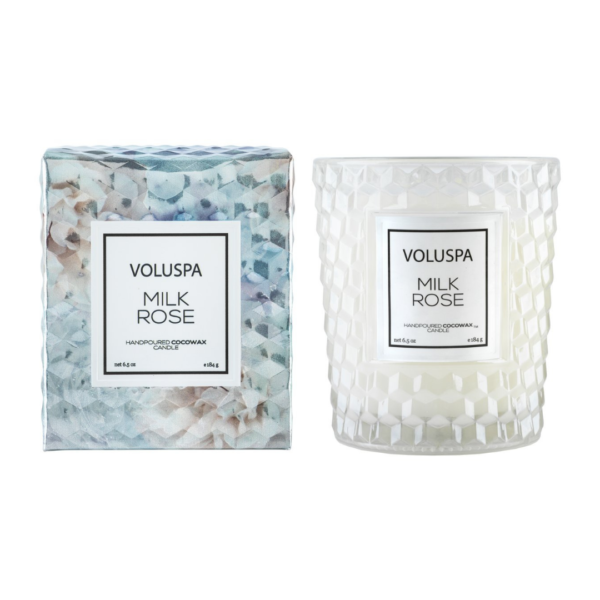 Voluspa Milk Rose Classic Candle and Box