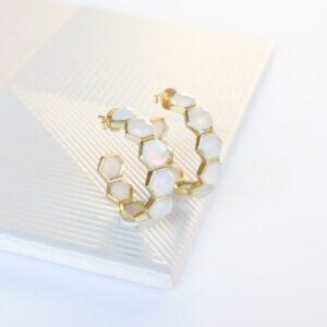 Honeycomb Moonstone Earrings