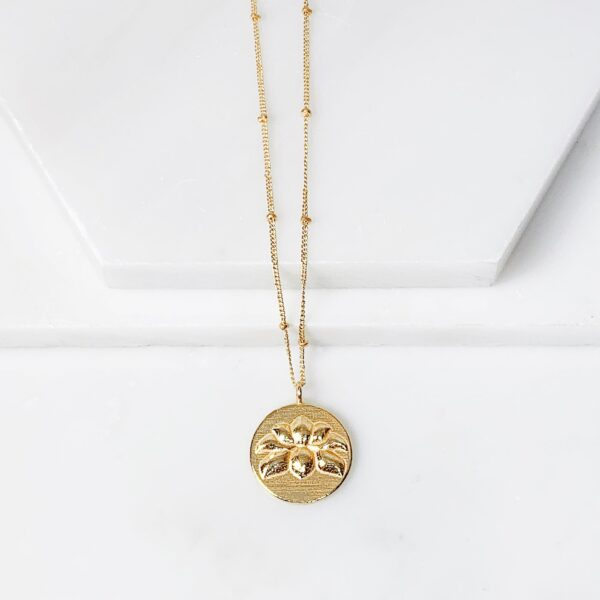 Lotus Flower Medallion Necklace