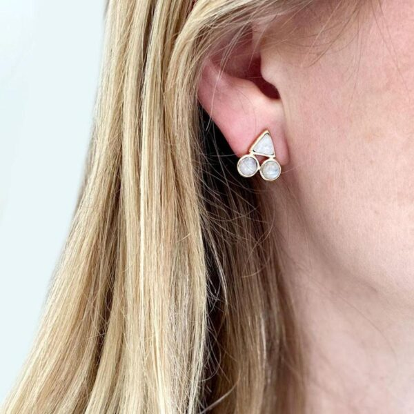 Moonstone Post Earrings in Ear
