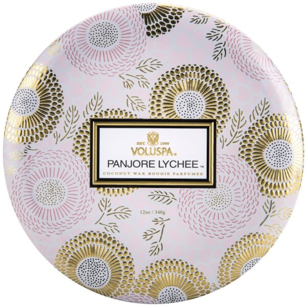 Voluspa Panjore Lychee 3 Wick Tin Candle Lid