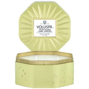 Voluspa Peruvian Lime Jardin 3 Wick Octagon Tin Candle