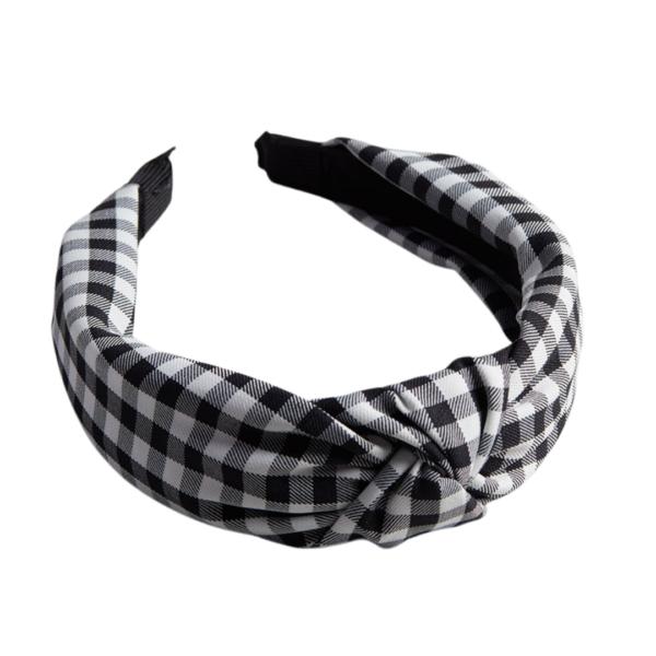 Black and White Gingham Headband