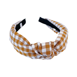 Brown and White Gingham Headband