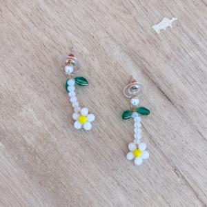White Poppy Earrings