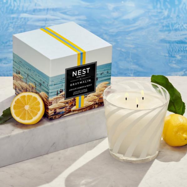 NEST New York x Gray Malin Amalfi Lemon & Mint 3-Wick Candle Lifestyle