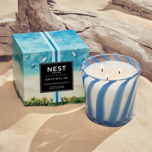 NEST New York x Gray Malin Ocean Mist & Sea Salt 3-Wick Candle Lifestyle