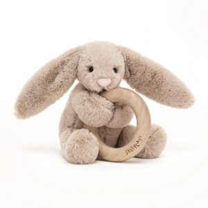 Jellycat Beige Bunny Wooden Ring Toy