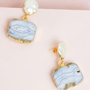Pearl and Blue Onyx Earrings